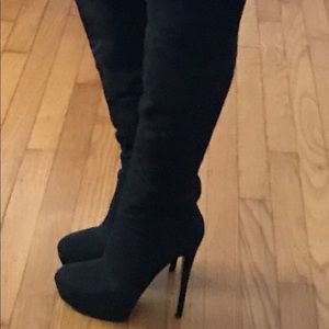 bebe Shoes - Over the Knee Black Bebe Suede Boots